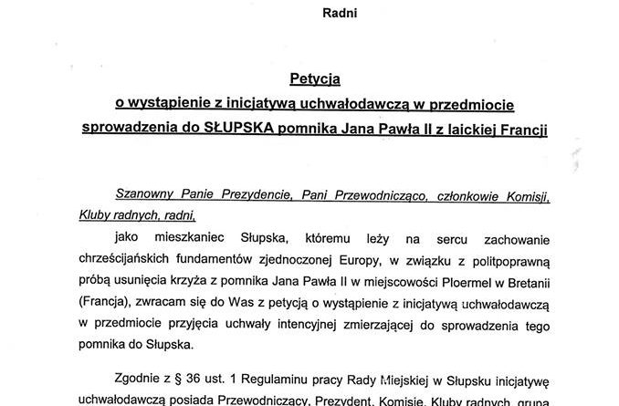 Petycja w sprawie sprowadzenia pomnika JP2