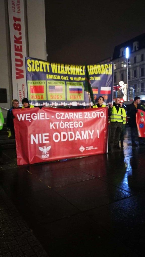 Manifestacja Ruchu Narodowego i Młodzieży Wszechpolskiej przeciwko COP24