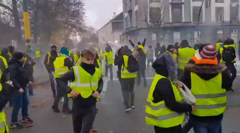 Protestujący w Belgii