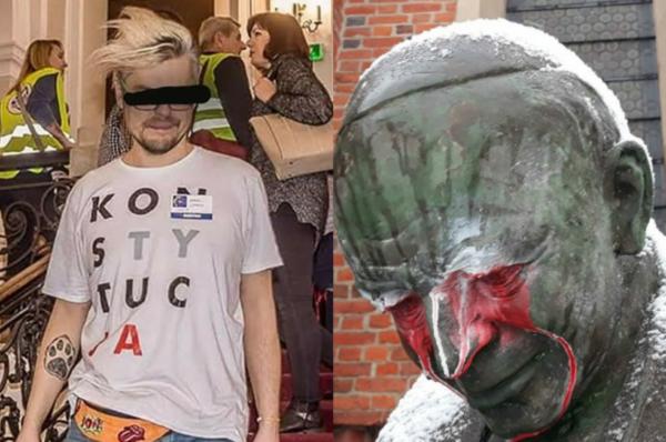 Przedstawiciel Koalicji Obywatelskiej zdewastował pomnik Jana Pawła II w Starogardzie Gdańskim