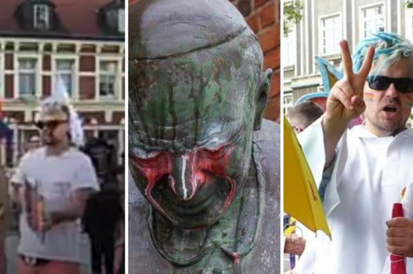 Zdewastował pomnik papieża, wczoraj organizował wiec LGBT w Starogardzie Gdańskim [WIDEO]